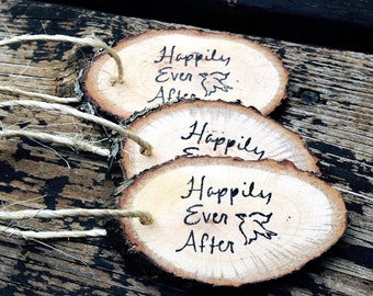 Weather Wood Reclaimed Branch Gift Tags || 25 pcs Happily Ever After || Wedding Woodland Decor || Gift Bags || Swag Bags || Rustic Tags