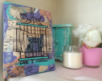 Music book painting Bird cage art mixed media collage on upcycled wood French illustration