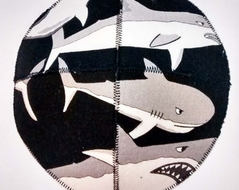 Sharks Saucer Kippah/Yarmulke Black and White