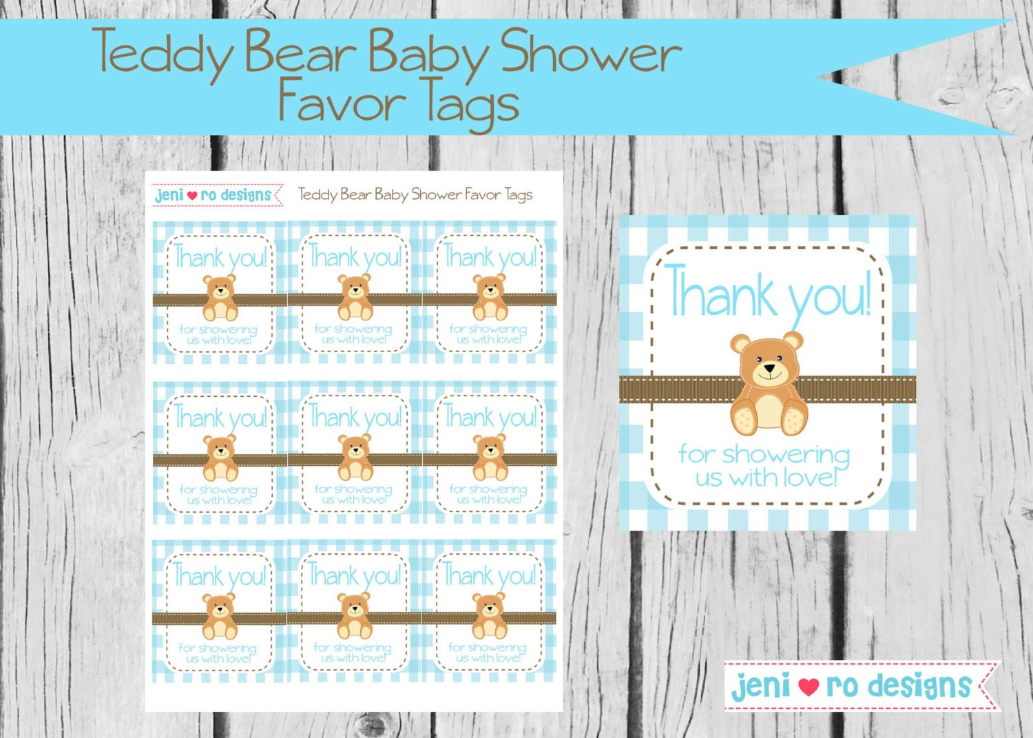 teddy bear boy baby shower printable favor tags