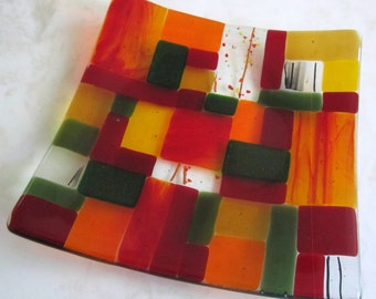 Fused Glass Plate, Modern Mosaic in Red, Amber, Yellow, Orange, Black, and Green, Christmas Glass Plate, Glass Mosaic, Valentine's Day Glass