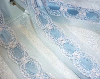 Chiffon Baby Blue vintage Lace Satin Lingerie Trim,Vintage wide Chiffon Lace