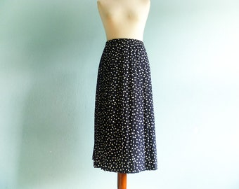 Vintage navy blue white polka dot skirt / pleats pleated / elastic waist high / midi / large