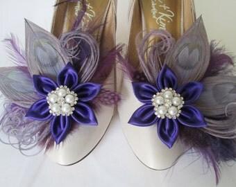 Purple WEDDING Shoe Clips, Silver Peacock Shoe Clips, Purple & Silver Gray Bridal Shoe Clip Accessories, Kanzashi Flower Bride