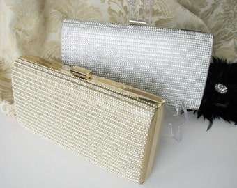 Satin Fabric Wedding Bag Clutch Formal Evening Bag with rows of Mini Pearls and Crystals