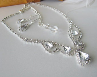 Vintage Inspired Wedding Necklace in Antique silver tone with German Faceted Crystals back drop Pageant Jewelry