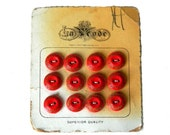 12 Matching 1920s Czechoslovakian Red Art Deco Buttons