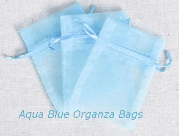 Wedding Favor Bags Organza : Wedding Favors Organza Bags 100 Aqua Sheer Bridal Baby Shower