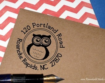 Owl Return Address Stamp Cute Owl Self Inking Address Stamp, Teacher Gift, Book Plate, Teacher's Book Stamp, Teacher Appreciation Gift