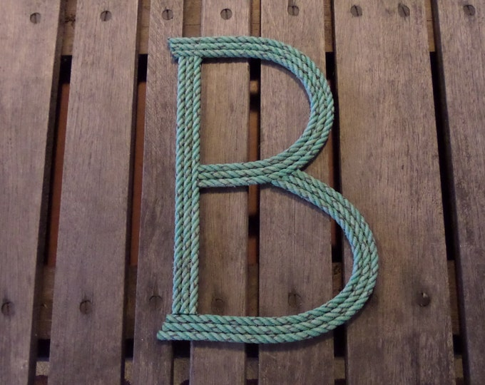 12 Inch Rope Letter Nautical Personalize Nautical Nursery Decor Kids Room Baby Name Natural or Green Rope