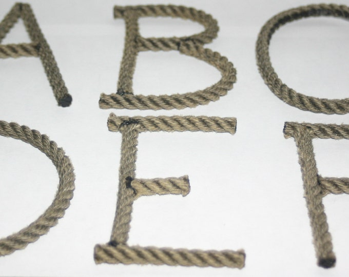 Alphabet Letters Rope Letters MADE TO ORDER Nautical decor Weddings Shower Events Nautical Nursery Beach Western Coastal Green or Natural