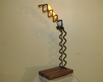 Squiggly Found Metal Artifact Lamp With Vintage Style Light Bulb  FP