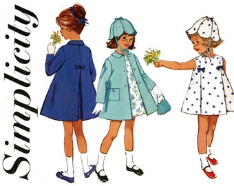 1960s Childrens Sewing Pattern Breast 21 Simplicity 5337 Girls Sleeveless A Line Dress and Coat with Flower Petal Hat Easter Party Dress
