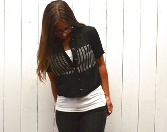 Cropped Jacket Top 90s Vintage Black White Striped Short Sleeve Blouse Small
