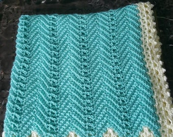 Victorian Ripple Baby Afghan Mint Green With Off White Lace Border - Ready to be Shipped