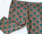 Brown, Teal, Blue, Triangle, Geometric Baby Boy, Girl, Unisex Knit Leggings Pants