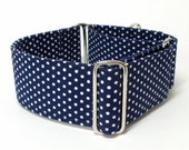 Martingale Collar, White Polka Dots on Navy Blue, Galgo Collar, Greyhound Martingale, Hound Collar