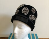 1950s beaded old hollywood glamour / hollywood regency / pinup / bombshell pillbox hat