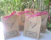 Hen party bags SMALL (14cm x 19.5cm x 8cm) with hen print glued on and Raffia paper ribbon