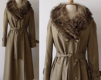SALE 70's Trench Winter Coat with Raccoon Fur -  Lined Winter Gabardine Coat  -
