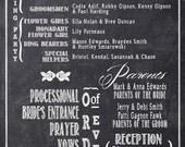 Chalkboard Wedding Programs - Black and White Typography - Rush Custom Listing for meghanedwards156