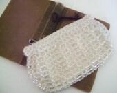 Czech Glass Beaded Clutch - Art Deco Clear Glass Beaded Small Zippered Bag - Lake Breeze Vintage