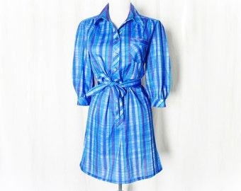 Vintage 80s Blue Plaid Mini Dress Striped Belted Upcycled Puff Sleeve L