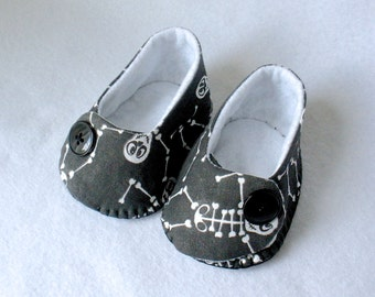 Boys Baby Shoes, Skeleton Booties, Hand Stitched Halloween Booties,  Hand Sewn Skeleton Baby Shoes,  Baby Bones Cotton Gift Set