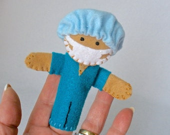 Doctor Finger Puppet, Hand Stitched Felt Storytelling Prop, Blue Scrubs Surgeon, OR, Nurse