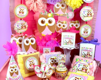 Owl Girl Birthday, Owl 1st Birthday, Owl baby shower, Party Decoration, Girl Birthday, Owl Party Printables, Printable party | PERSONALIZED