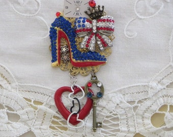 High Heel Rhinestone SHOE -  Patriotic USA Bow Pin - GLAM Red White and Blue  Brooch