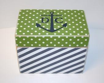 Recipe Box, Green and Navy Recipe Box, Anchor Box, 4x6 Recipe Box, Nautical Kitchen, Wooden Recipe Box, Personalized Wedding Guest Book Box