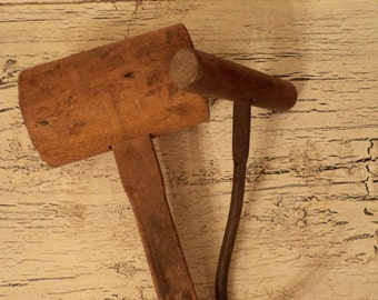Pair of Rustic Farm Tools - Wooden Mallet and Hay Hook
