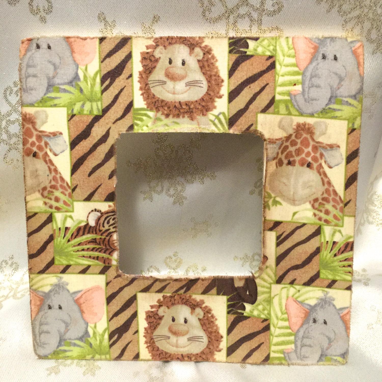 Safari nursery frame giraffe fabric by feedlebeescreations for Safari fabric for nursery