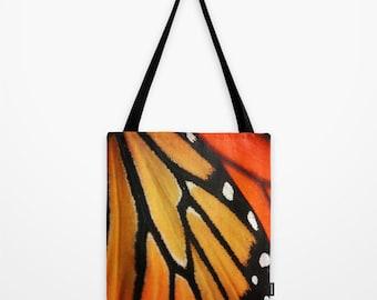 Butterfly Tote Bag, Monarch Wing Market Bag, Orange Black Butterfly Book Market Sling Bag, Butterfly Over the Shoulder Bag