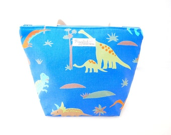 Insulated Lunch Tote Bag with Waterproof Lining - Dinosaur (Choose Your Size!)