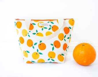 Insulated Tote-Style Lunch Bag with Waterproof Lining - Oranges (Choose Your Size!)