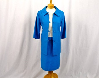 60s Mod Dress and Long Jacket * Three Piece Suit * 1960s Suit Dress * Aqua Blue Dress * 60s Dress * Blue and White Dress * Wiggle Dress