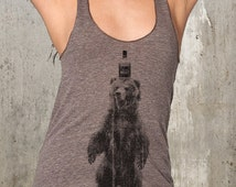 Whiskey Bottle & Bear Tank Top - Women's Racerback American Apparel Tank Top - Women's XS Through Large Available