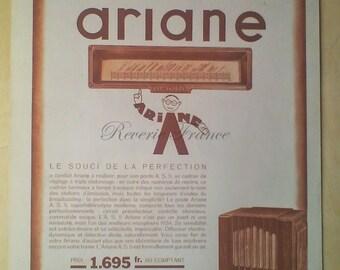Original French Vintage Poster Ad Ariane Radio Advertisement Radiociné 1933