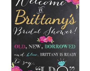 Old New Borrowed and Blue Bridal Shower Sign | Digital