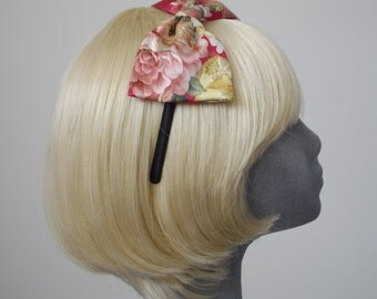 Pink Headband - Pink-Gold Satin Brocade Bow Headband