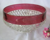 Vintage Indiana Glass Diamond Point Ruby Flashed large Serving Bowl Centerpiece