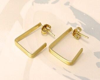 ON SALE 30% OFF Rectangle Hoop Earrings 18k Gold Vermeil Small Gold Hoop Earrings Geometric Jewelry