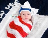 Stars and Stripes Chevron Hat and Sleep Sack - Newborn baby photo prop