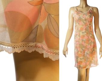As new attractive unusual silky soft 'Orsi Mangelli ' sheer pretty pastel floral design nylon 1970's vintage full slip petticoat - 3199