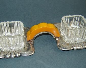 Antique OLD Vintage Crystal Glass Butterscotch Bakelite SALT Holder Silverplate