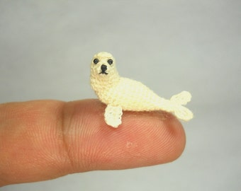 White Seal - Miniature Crochet Pinniped Stuffed Animal - Made to Order