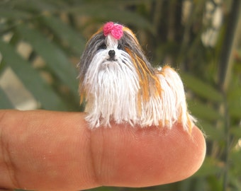 Tricolor Shi Tzu - Tiny Crochet Miniature Dog Stuffed Animals - Made To Order