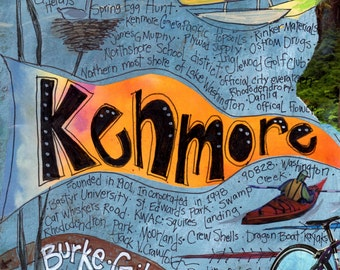 KENMORE, WASHINGTON, Northwest Gift, Washington State Gift, Mixed Media Art, Wall Art, Limited Edition, USA  by Seattle Artist Mary Klump